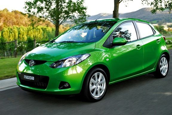 Green color mazda car